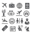 airport icons set on white background vector image