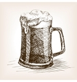 Beer mug hand drawn sketch style vector image