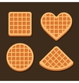 Belgium Waffles Icon Set on Dark Background vector image vector image