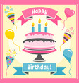 birthday card with colorful cake and balloons vector image vector image