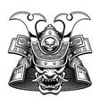 black and white a samurai mask vector image vector image
