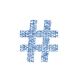 blue hashtag icon in sketch style vector image