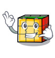 call me rubik cube mascot cartoon vector image vector image