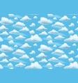 cartoon clouds on blue sky seamless pattern vector image