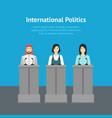 cartoon different nationalities politicians card vector image