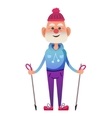 Cartoon old man with walking poles vector image vector image