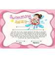 Certificate template with girl swimming vector image vector image