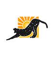 cheetah animal logo with sun vector image vector image