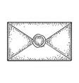 close kraft paper envelope with sealing wax vector image vector image