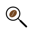Coffee searching with magnifying glass concept ill vector image vector image