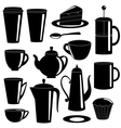 Collection of tea and coffee items silhouettes vector image vector image