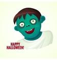 Cute green smiling zombie man