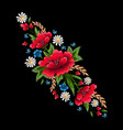 embroidery stitches with flowers fashion vector image vector image