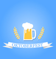 Glass of beer with foam and ears on a blue vector image vector image