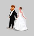 groom and bride couple cartoon design element vector image vector image