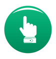 hand direction icon green vector image vector image