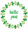 hello june watercolor wreath card isolated vector image vector image