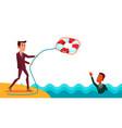 help a colleague businessman throws lifebuoy to vector image vector image