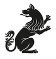heraldic pet dog or wolf animal rampant vector image
