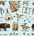 indian or native american seamless pattern vector image vector image