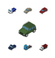 isometric car set of lorry car truck and other vector image vector image