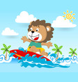 lion the surfer in action at summer cartoon vector image