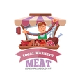 Local market farmer selling fresh meat vector image