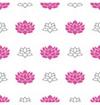 lotus flower seamless pattern hand drawn doodle vector image