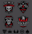 Motor racing emblem patch set vector image vector image