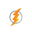 orange thunder bolt sign logo vector image vector image
