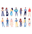 people in old fashion clothing set young vector image