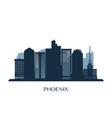 phoenix skyline monochrome silhouette vector image vector image