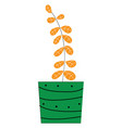 plant with orange leavess inside a green pot on vector image vector image