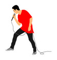 popular singer super star with microphone vector image vector image