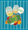 poster with glasses of cider and bunch of apples vector image