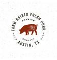 premium fresh pork label retro styled meat shop vector image vector image