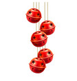 red realistic jingle bells toys handing vector image vector image