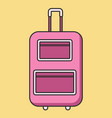 rolling pink suitcase in flat linear style vector image vector image