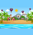 scene background design with circus on beach vector image
