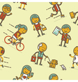 Seamless pattern with people of big city vector image vector image