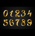 set of festive gold ribbon digits golden vector image