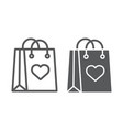 shopping bag with heart line and glyph icon love vector image vector image