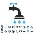 Shower Tap Flat Icon With Bonus vector image