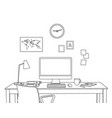 sketch modern home office interior freelancer vector image vector image