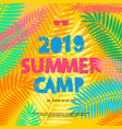 summer camp 2019 handdrawn lettering on jungle vector image vector image
