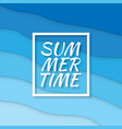 summer time paper cut style blue sea summer vector image vector image