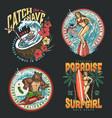 surfing colorful vintage prints vector image
