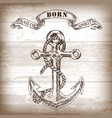 vintage anchor on wooden background vector image vector image
