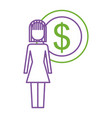 woman female standing with money dollar coin vector image
