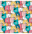 hand drawn cute bear pattern vector image